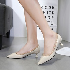 Women's PU Spool Heel Pumps Closed Toe With Rivet shoes (085133872)