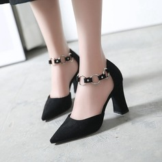 Women's Suede Chunky Heel Pumps Closed Toe With Lace-up shoes