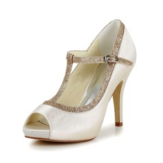 Women's Satin Stiletto Heel Peep Toe Pumps With Buckle Sparkling Glitter