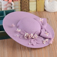 Ladies' Romantic Linen With Silk Flower Floppy Hat