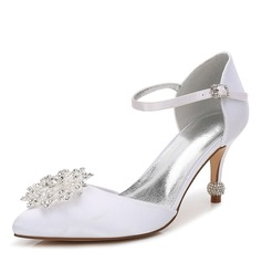 Women's Silk Like Satin Stiletto Heel Closed Toe Pumps With Crystal Heel Crystal