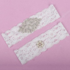 Elegant Lace With Rhinestone/Imitation Pearls Wedding Garters
