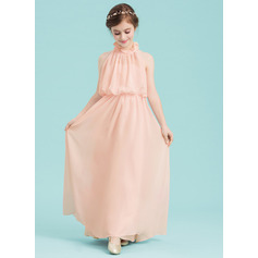 A-Line High Neck Floor-Length Chiffon Junior Bridesmaid Dress With Cascading Ruffles