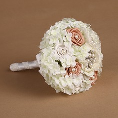 Sweet Round Satin/Silk Bridal Bouquets