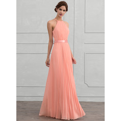 Scoop Neck Floor-Length Chiffon Evening Dress (271214283)