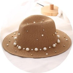 Ladies' Charming Rattan Straw With Imitation Pearls Straw Hat/Beach/Sun Hats