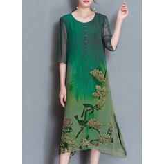 Silk With Print Knee Length Dress (199136830)