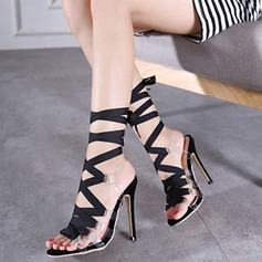 Women's Satin Stiletto Heel Sandals Pumps Peep Toe With Braided Strap shoes