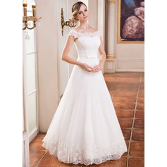 Ball-Gown Off-the-Shoulder Floor-Length Tulle Wedding Dress With Ruffle Lace Beading Sequins