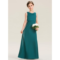 Cowl Neck Floor-Length Chiffon Junior Bridesmaid Dress With Ruffle (268197738)