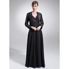 A-Line/Princess V-neck Floor-Length Chiffon Charmeuse Mother of the Bride Dress With Ruffle Beading