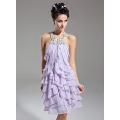 Sheath/Column Halter Knee-Length Chiffon Homecoming Dress With Beading Cascading Ruffles