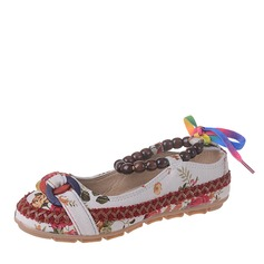 Women's Canvas Flat Heel Flats Closed Toe With Beading shoes (086164476)