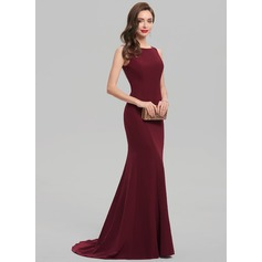 Trumpet/Mermaid Scoop Neck Sweep Train Stretch Crepe Evening Dress With Beading