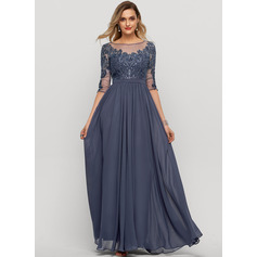 Scoop Neck Floor-Length Chiffon Evening Dress With Sequins (271232432)