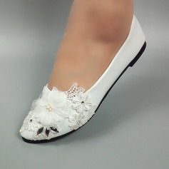 Women's Leatherette Flat Heel Closed Toe With Beading Satin Flower