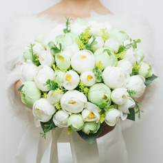 Charming Round Artificial Silk Bridal Bouquets