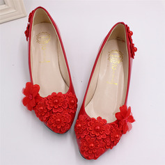 Women's Leatherette Pumps Beach Wedding Shoes With Applique