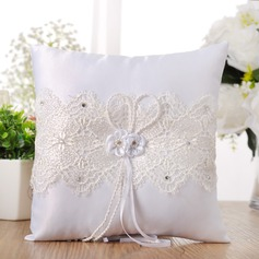 Elegant Ring Pillow in Cloth With Ribbons/Rhinestones/Lace