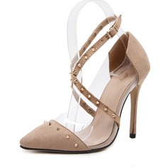 Women's Suede Stiletto Heel Pumps Closed Toe With Rivet shoes