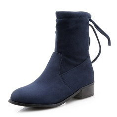 Women's Suede Low Heel Closed Toe Boots Mid-Calf Boots With Lace-up shoes