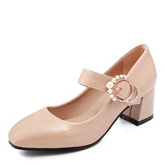 Women's Leatherette Chunky Heel Pumps With Buckle Imitation Pearl