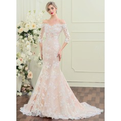 Trumpet/Mermaid Off-the-Shoulder Court Train Lace Wedding Dress (002110619)