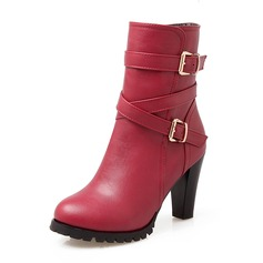 Women's Leatherette Chunky Heel Pumps Closed Toe Boots Mid-Calf Boots With Buckle shoes