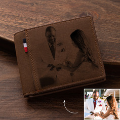 Groom Gifts - Personalized Custom Engraved Photo Engraved Black And White Leather Wallet Men's Wallet (257244534)