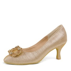 Women's Leatherette Chunky Heel Closed Toe Pumps With Crystal