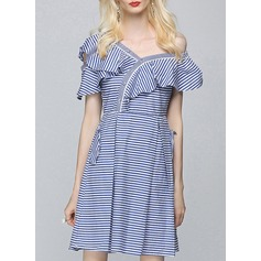 Polyester With Stitching/Print/Ruffles Above Knee Dress (199140157)