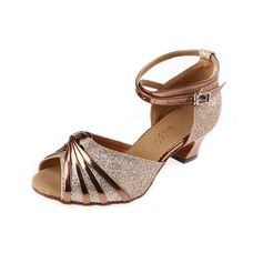 Women's Sparkling Glitter Heels Latin With Ankle Strap Buckle Dance Shoes