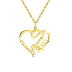 Custom 18k Gold Plated Two Name Necklace Heart Necklace - Birthday Gifts Mother's Day Gifts