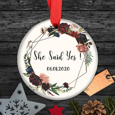 Bride Gifts - Personalized Beautiful Delicate Double Sided Custom Ceramics Tag Ornaments