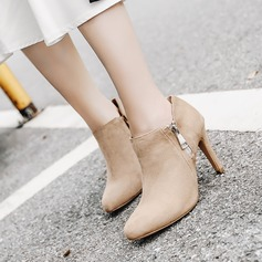 Women's Suede Stiletto Heel Pumps Boots Ankle Boots With Zipper shoes