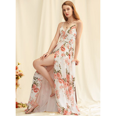 Floral Print V-Neck Sleeveless Maxi Dresses (293250226)