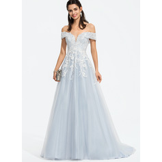 Ball-Gown/Princess Off-the-Shoulder Sweep Train Tulle Wedding Dress With Sequins
