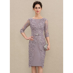 Sheath/Column Scoop Neck Knee-Length Satin Lace Mother of the Bride Dress With Beading Bow(s) (008179208)