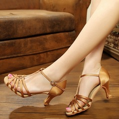 Women's Silk Sandals Latin With Ankle Strap Dance Shoes