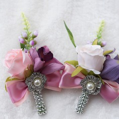 Satin/Imitation Pearl Boutonniere (Sold in a single piece) -
