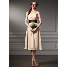 Empire Strapless Knee-Length Chiffon Bridesmaid Dress With Ruffle Sash