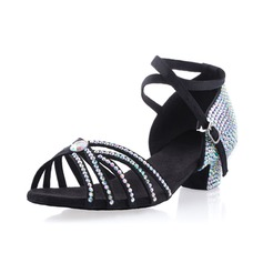 Satin Sandals Pumps Latin Ballroom Dance Shoes With Rhinestone Ankle Strap Buckle