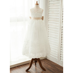 A-Line/Princess Floor-length Flower Girl Dress - Satin/Tulle/Lace Sleeveless Scoop Neck With Sash/Bow(s) (010122548)