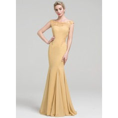 Trumpet/Mermaid Off-the-Shoulder Floor-Length Chiffon Prom Dresses With Lace Beading Sequins