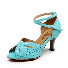 Women's Satin Sandals Latin With Rhinestone Hollow-out Dance Shoes