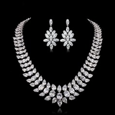 Exquisite Zircon/Platinum Plated Ladies' Jewelry Sets