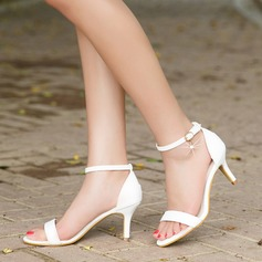 Women's Leatherette Stiletto Heel Sandals Pumps Peep Toe With Buckle shoes (087111818)