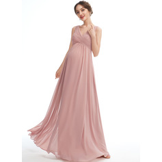 A-line V-Neck Floor-length Chiffon Maternity Bridesmaid Dress (045251912)