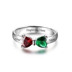Personalized Ladies' Attractive S925 Sliver Heart Cubic Zirconia/Birthstone Rings For Bride/For Friends/For Couple