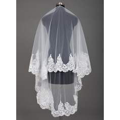 One-tier Lace Applique Edge Waltz Bridal Veils With Applique